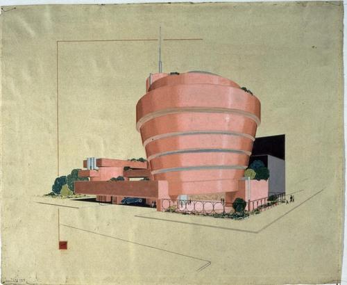 FLW Guggenheim Red inkdrawing