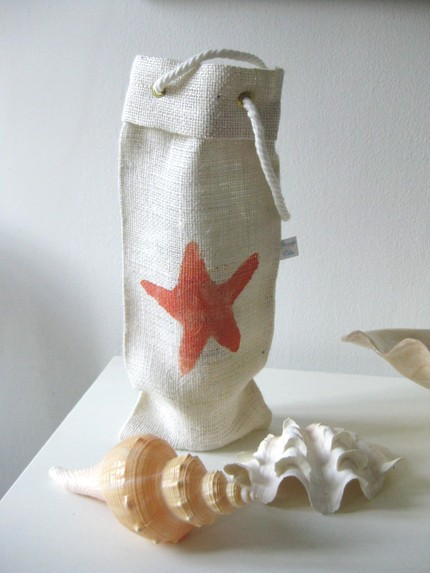 Shorely Chic Coral Starfish Wine Sack Gift Hostess Etsy