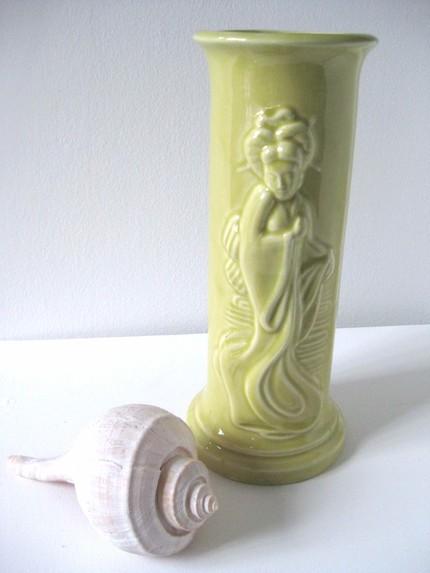 Shorely Chic Lime Green Vase Ceramic Asian Etsy Hostess Gift