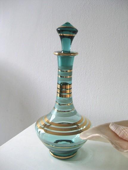 Bottle Hostess Gift Turquoise Gold Vintage Glass Shorely Chic Etsy