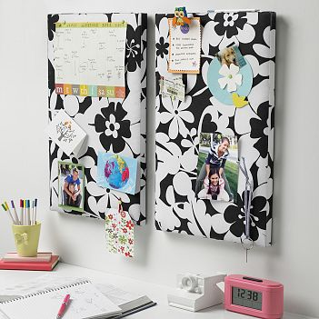 post it board, black and white, graphic, teen, Pottery Barn, interior design