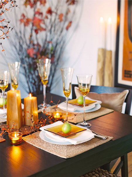 fall, decor, pears, table setting, interior design