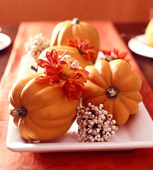 fall, decor, tablescape, pumpkins, simple, white tray, better homes and gardens