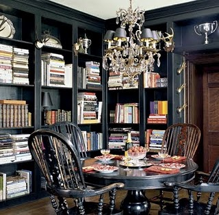 library, dining, black, interior design, badgley mishka, elle decor