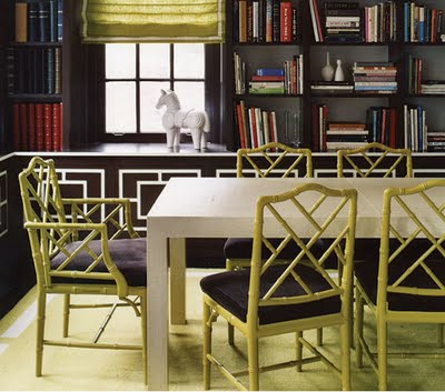 library, dining, jonathan adler, domino magazine, interior design, contemporary, color