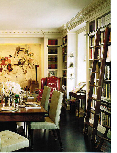 dining, library, Maison Classique, traditional, ladder, art, interior design