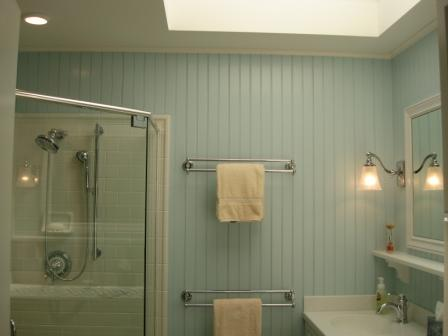 bath, renovation, shower, lighting, interior design, beadboard, skylight