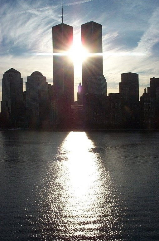 twin towers, cross, sunlight, new york city, downtown, 9/11