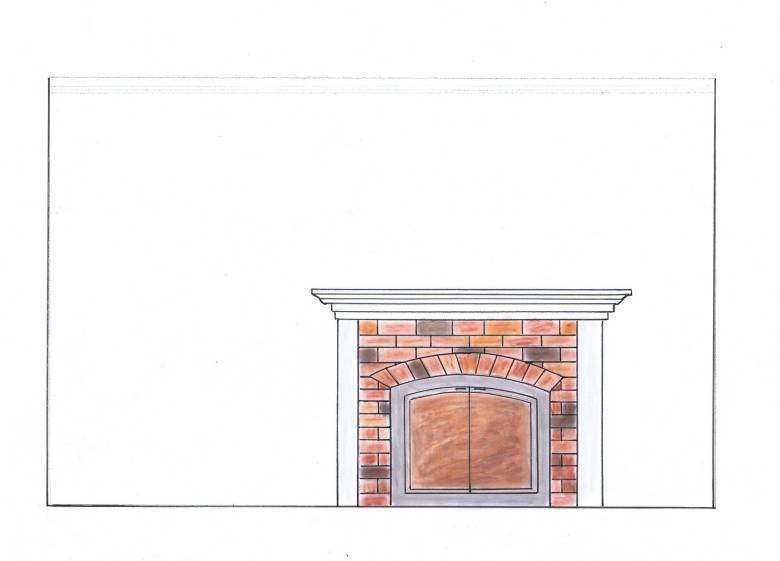 fireplace, brick, interior design, library, farmhouse style, connecticut, color rendering