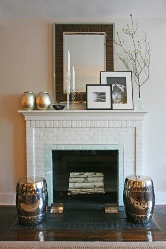 white brick, traditional, contemporary, accessories, mirror, garden stools