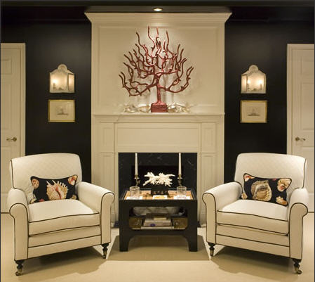 drama, grey, white, accessories, fireplace, sconces