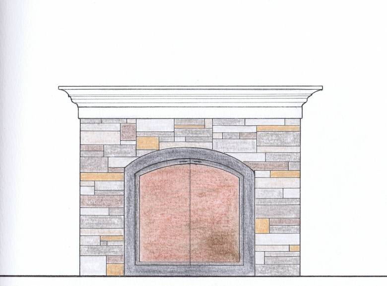 stacked stone, fireplace, interior design, color rendering