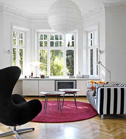 white, interior design, modern, egg chair, Arne, architecture