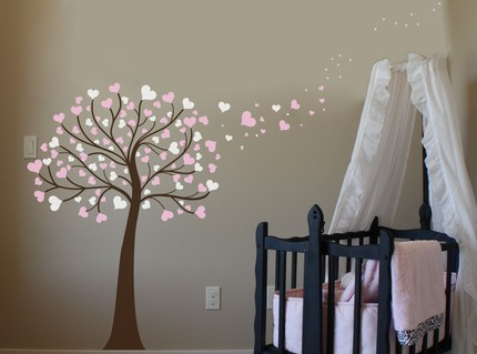 weedecor, pink, tree, baby, nursery, interior design, decor