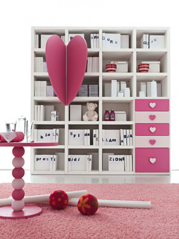 storage, teen, tween, girls, hearts, room, decor, interior design