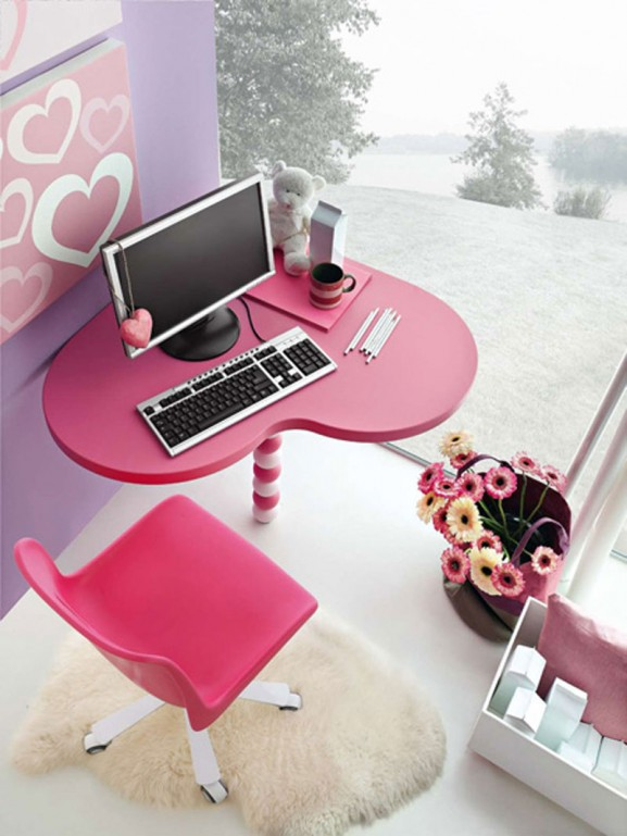 study area, teen, tween, heart, pink, interior design, decor, room