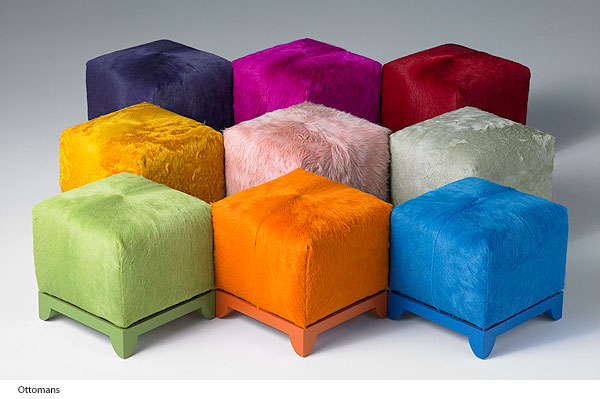 Kyle Bunting, ottoman, hide, color, interior design