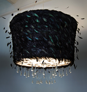 black, feathers, lighting, abyu, interior design