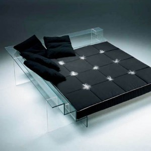 italian, furniture, black, leather, bed, lucite, interior design